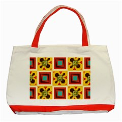 Retro Colors Squares Pattern                            classic Tote Bag (red) by LalyLauraFLM