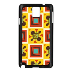 Retro Colors Squares Pattern                            			samsung Galaxy Note 3 N9005 Case (black) by LalyLauraFLM