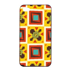 Retro Colors Squares Pattern                            			apple Iphone 4/4s Seamless Case (black) by LalyLauraFLM