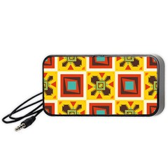 Retro Colors Squares Pattern                            Portable Speaker by LalyLauraFLM