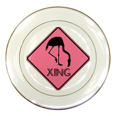 Flamingo Crossing Traffic Sign Porcelain Plates by CrypticFragmentsColors
