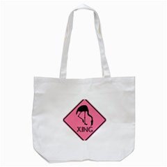 Flamingo Crossing Traffic Sign Tote Bag (white) by CrypticFragmentsColors