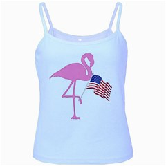 Flamingo American Flag Patriotic Baby Blue Spaghetti Tank by CrypticFragmentsColors