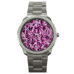 Textured Abstract Print Sport Metal Watch by dflcprints