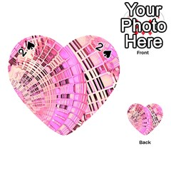 Pretty Pink Circles Curves Pattern Playing Cards 54 (heart) by CrypticFragmentsDesign