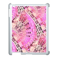Pretty Pink Circles Curves Pattern Apple Ipad 3/4 Case (white) by CrypticFragmentsDesign