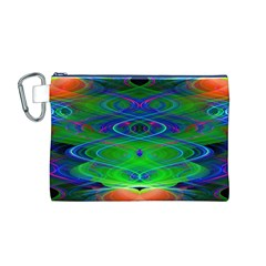 Neon Night Dance Party Canvas Cosmetic Bag (M) by CrypticFragmentsDesign