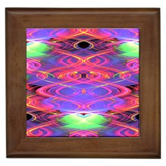 Neon Night Dance Party Pink Purple Framed Tiles by CrypticFragmentsDesign