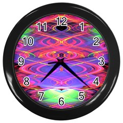 Neon Night Dance Party Pink Purple Wall Clocks (black) by CrypticFragmentsDesign