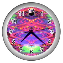 Neon Night Dance Party Pink Purple Wall Clocks (Silver)  by CrypticFragmentsDesign