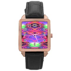 Neon Night Dance Party Pink Purple Rose Gold Leather Watch  by CrypticFragmentsDesign