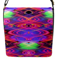 Neon Night Dance Party Pink Purple Flap Messenger Bag (s) by CrypticFragmentsDesign