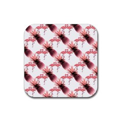 Flamingo Pineapple Tropical Pink Pattern Rubber Coaster (square)  by CrypticFragmentsColors