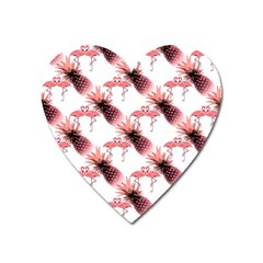 Flamingo Pineapple Tropical Pink Pattern Heart Magnet by CrypticFragmentsColors