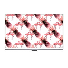 Flamingo Pineapple Tropical Pink Pattern Business Card Holders by CrypticFragmentsColors