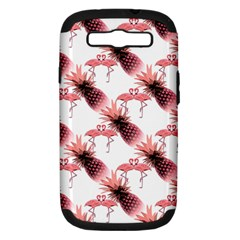 Flamingo Pineapple Tropical Pink Pattern Samsung Galaxy S Iii Hardshell Case (pc+silicone) by CrypticFragmentsColors
