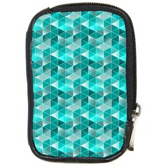 Aquamarine Geometric Triangles Pattern Compact Camera Cases by KirstenStar