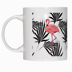 Flamingos Palmetto Fronds Tropical Pattern White Mugs by CrypticFragmentsColors