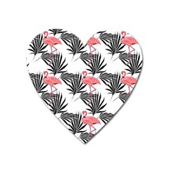 Flamingos Palmetto Fronds Tropical Pattern Heart Magnet by CrypticFragmentsColors