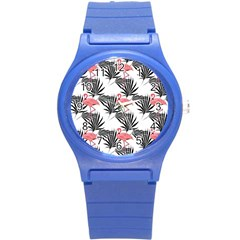 Flamingos Palmetto Fronds Tropical Pattern Round Plastic Sport Watch (s) by CrypticFragmentsColors