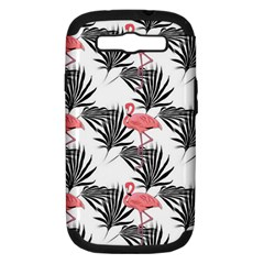Flamingos Palmetto Fronds Tropical Pattern Samsung Galaxy S Iii Hardshell Case (pc+silicone) by CrypticFragmentsColors