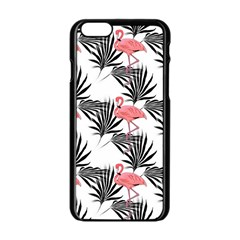 Flamingos Palmetto Fronds Tropical Pattern Apple Iphone 6/6s Black Enamel Case by CrypticFragmentsColors