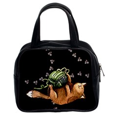 Lovely Cat Playing A Ball Of Wool Classic Handbags (2 Sides) by TastefulDesigns