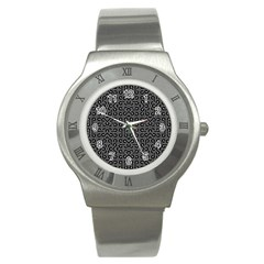 Black And White Ethnic Sharp Geometric  Stainless Steel Watch by dflcprints