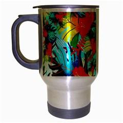 Watercolor Tropical Leaves Pattern Travel Mug (silver Gray) by TastefulDesigns