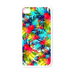 Watercolor Tropical Leaves Pattern Apple Iphone 4 Case (white) by TastefulDesigns