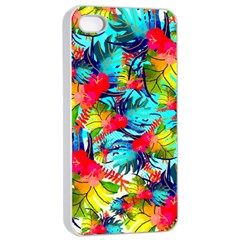 Watercolor Tropical Leaves Pattern Apple Iphone 4/4s Seamless Case (white) by TastefulDesigns