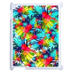 Watercolor Tropical Leaves Pattern Apple Ipad 2 Case (white) by TastefulDesigns