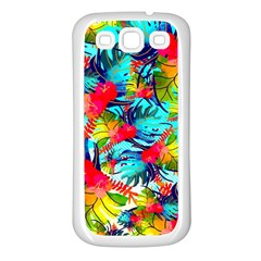 Watercolor Tropical Leaves Pattern Samsung Galaxy S3 Back Case (white) by TastefulDesigns
