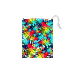 Watercolor Tropical Leaves Pattern Drawstring Pouches (XS)  by TastefulDesigns
