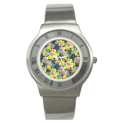 Tropical Flowers And Leaves Background Stainless Steel Watch by TastefulDesigns