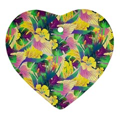 Tropical Flowers And Leaves Background Heart Ornament (2 Sides) by TastefulDesigns