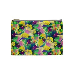 Tropical Flowers And Leaves Background Cosmetic Bag (medium)  by TastefulDesigns