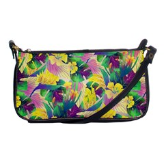 Tropical Flowers And Leaves Background Shoulder Clutch Bags by TastefulDesigns