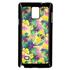 Tropical Flowers And Leaves Background Samsung Galaxy Note 4 Case (black) by TastefulDesigns