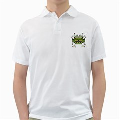 Worried Robot Character Illustration Golf Shirts by dflcprints