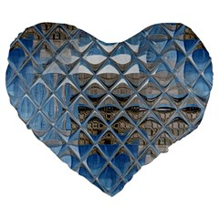 Mirrored Glass Tile Urban Industrial Large 19  Premium Flano Heart Shape Cushions by CrypticFragmentsDesign
