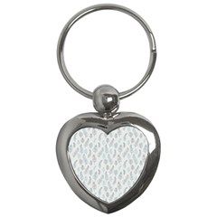 Whimsical Feather Pattern Dusk Blue Key Chain (heart) by Zandiepants