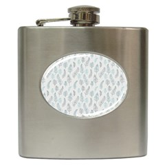 Whimsical Feather Pattern Dusk Blue Hip Flask (6 Oz) by Zandiepants