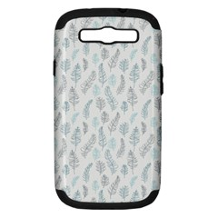 Whimsical Feather Pattern Dusk Blue Samsung Galaxy S Iii Hardshell Case (pc+silicone) by Zandiepants