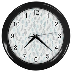 Whimsical Feather Pattern Dusk Blue Wall Clock (black) by Zandiepants
