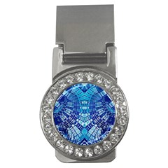 Blue Mirror Abstract Geometric Money Clips (cz)  by CrypticFragmentsDesign
