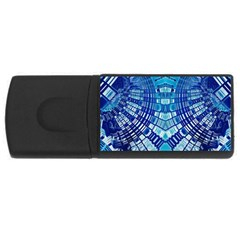 Blue Mirror Abstract Geometric USB Flash Drive Rectangular (2 GB)  by CrypticFragmentsDesign