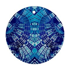 Blue Mirror Abstract Geometric Round Ornament (two Sides)  by CrypticFragmentsDesign