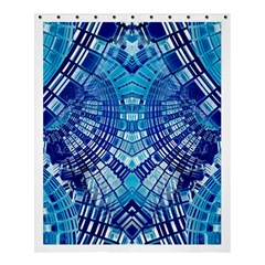 Blue Mirror Abstract Geometric Shower Curtain 60  X 72  (medium)  by CrypticFragmentsDesign
