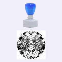 Blue Mirror Abstract Geometric Rubber Round Stamps (medium) by CrypticFragmentsDesign